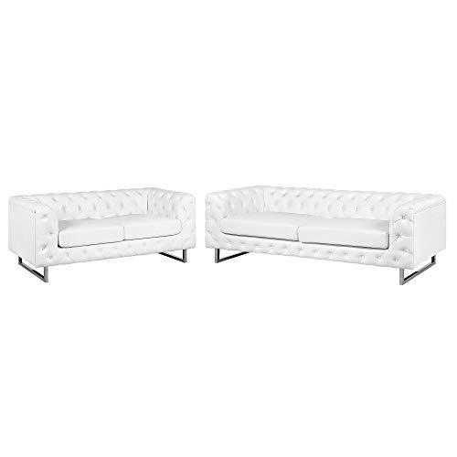 Beliani Modernes Sofa Set 2er Sofa 3er Sofa Kunstleder Chesterfield Stil weiß Vissland