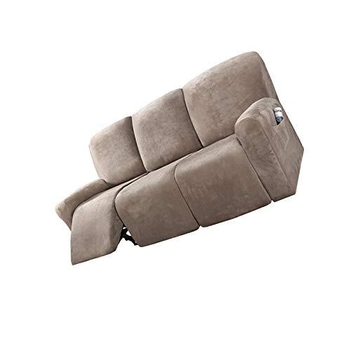 YuuHeeER 1 funda de sofá reclinable de ante grueso para silla todo incluido, elástica, color marrón topo