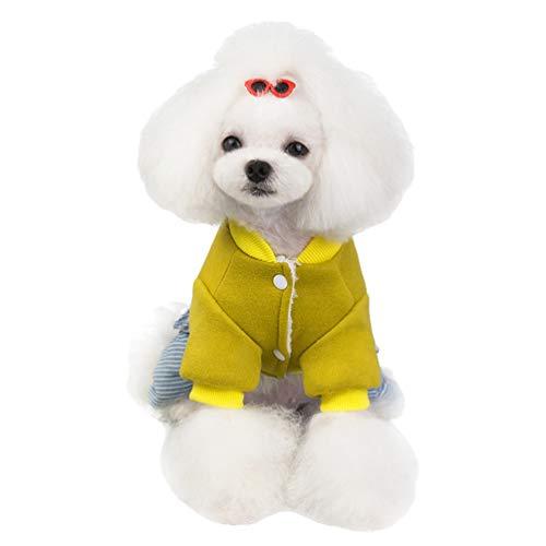 YOUJIAA Hund Katze Gedruckte Gefütterte Jacke Streifen Hose Winter Fleece Mantel Haustier Warm Pullover mit Knöpfen (Gelb, CN M)