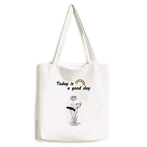 Bolsa de lona para plantas de flor de loto, color negro, blanco, lavable, para la compra