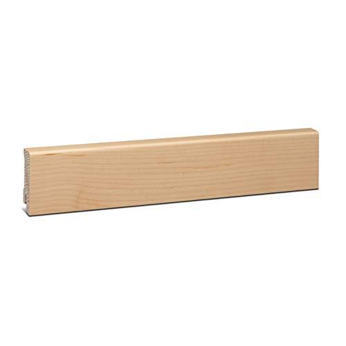 KGM Sockelleiste Ahorn Echtholz | Fußleiste 58mm Modern ✓Echtholz Fichte Träger ✓Furnier Holz Oberfläche ✓Parkettleiste | Sockelleisten für Laminat & Parkett | Holzleisten Ahorn 16x58x2500mm