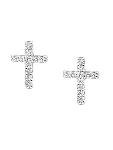 MyGold Kruis oorstekers oorbellen stekers witgoud witgoud 333 goud (8 karaat) met diamanten 0,07 karaat 7 mm x 5 mm briljant oorringen diamant oorringen geschenken Chiara O-02485-G311-DIA03C/H/P1-0,07ct