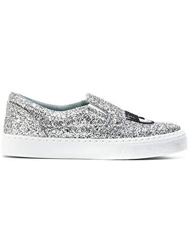 Chiara Ferragni Damen Cf1897 Silber PVC Slip On Sneakers