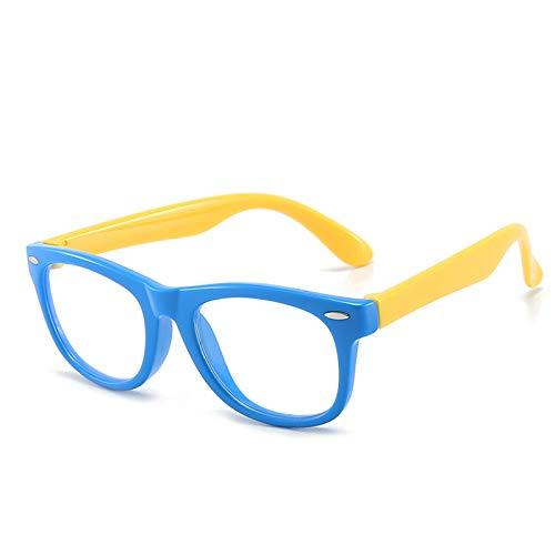 Blue Light Blocking Glasses Girls Boys Anti Eyestrain & UV Protection, Computer Gaming TV Glasses Glare Filter Transparent Lens Eyewear for Kids Age 3-12 (Blue/Yellow)