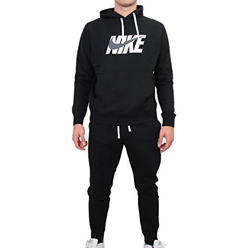 Nike Sportswear Herren-Trainingsanzug, Schwarz/Dunkelgrau, S