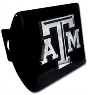 """Texas A/&M University Aggies Black with Chrome /""""ATM/"""" Emblem NCAA College Sports Metal Trailer Hitch Cover Fits 2 Inch Auto Car Truck Receiver"""