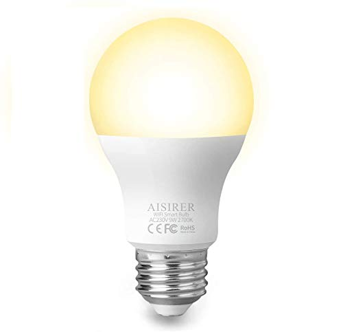 AISIRER Smart Lampe WLAN Glühbirnen Wifi LED Light Bulb E27 Birne 9W 806LM Kompatibel mit Amazon Alexa Echo Google Home Kein Hub Erforderlich Dimmbares Warmes Licht 2700K