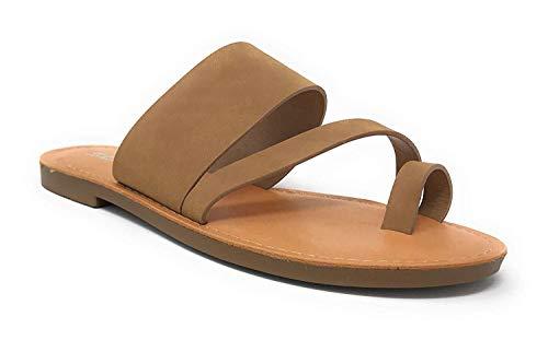 Soda Shoes Women Flip Flops Flat Summer Basic Sandals Thongs Toe Ring Joan (10 M US, Tan)