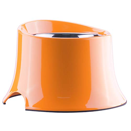 Super Design Elevated Dog Bowl Raised Dog Feeder for Food and Water 1 Cup Orange