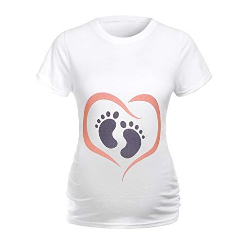 Sulifor Femmes Enceintes Stretch Chemises de Mode féminine O-Cou Robe de maternité Pyjama Femmes Enceintes Simple Confortable Chemise décontractée T-Shirt