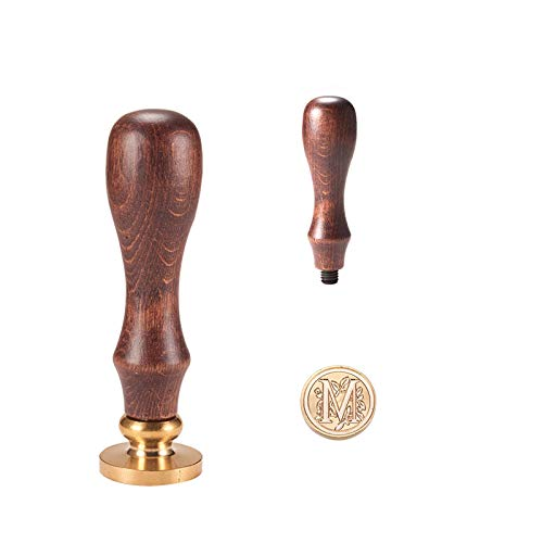 PandaHall Elite 1PC Sigillo Timbro di Cera Alfabeto Lettera M e 1PC Maniglia in Legno, 25x14mm, 75mm