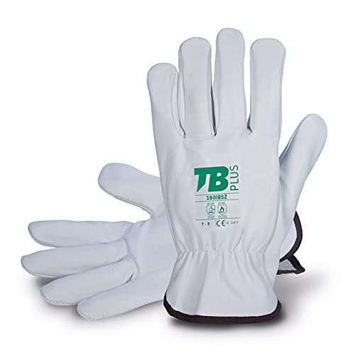 TB Guante de Protección Laboral TB Plus 160IBSZ   Guante de Seguridad para Trabajos con Riesgos Mecánicos y Térmicos. Fabricado en Piel Flor Vacuno, Color Gris - Paquete 10 Pares - Talla 11