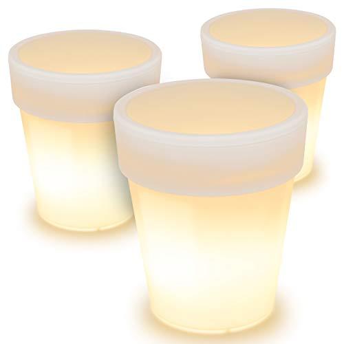 3 x Solar Blumentopf Pflanzkübel mit 3 LED – 19 x 17 cm – Kunststoff weiß – mit Akku Wasserablauf Dämmerungssensor –warmweiß