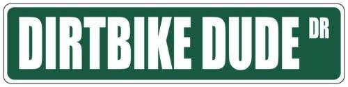 qidushop Dirtbike Dude grün Straßenschild Aluminium Blechschild Wanddeko Metallschild Post