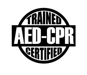 (3) AED CPR Trained & Certified funny hard hat / helmet vinyl decal sticker