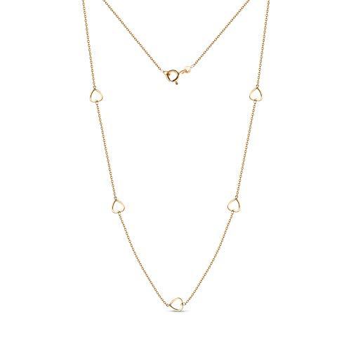 Miore Kette Damen Halskette mit Herzen Gelbgold 18 Karat / 750 gold, Länge 42 cm Schmuck