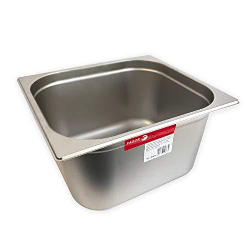 Fagor Gastronomie Behälter GN 2/3 aus 18/10 Edelstahl GN-Behälter-Deckel 2/3 Gastronormiebehälter Edelstahl stapelbar Spülmaschinengeeignet 354 mm x 325 mm (19,3L)