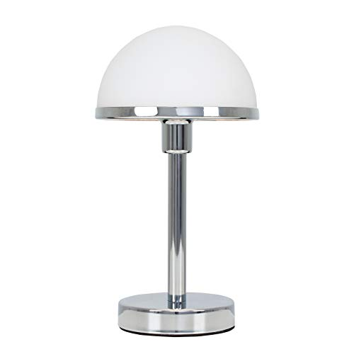 Modern Designer Style Polished Chrome & White Glass Touch Table Lamp - Complete with a 3w LED Dimmable G9 Bulb [3000K Warm White]