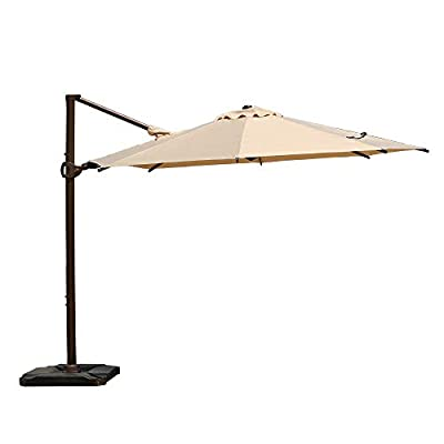 Abba Patio 10ft Patio Offset Hanging Umbrella 360°Rotating Outdoor Cantilever Umbrella with Crank & Base Weight for Garden, Deck, Backyard, Pool, Beige