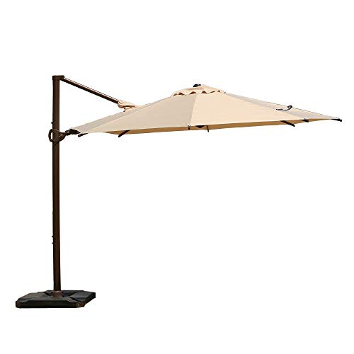 Abba Patio 11.5ft Patio Offset Hanging Umbrella 360°Rotating Outdoor Cantilever Umbrella with Crank & Base Weight for Garden, Deck, Backyard, Pool, Beige