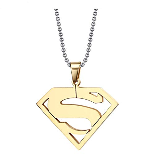 YUYAXZB Kreativ Titanstahl Halskette Für Herren Mit Superman-Logo Personalisierbar Accessoires Schmuck Design Schmuck Schöne Geschenkidee Für Weihnachten, Gold