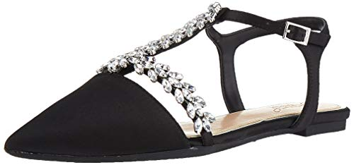 Jewel Badgley Mischka Women's RAE Shoe, Black Satin, 8 M US