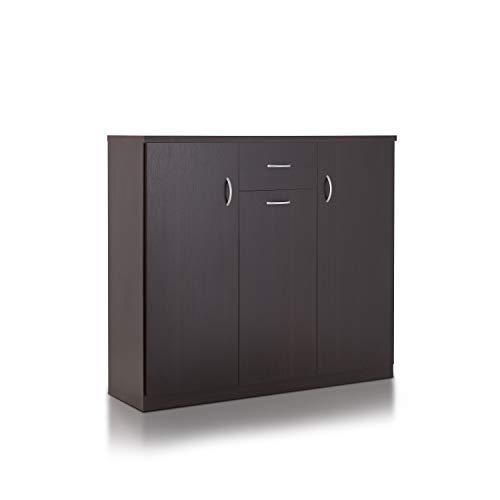 ioHOMES Darrion Modern 10-Shelf Shoe Cabinet with Center Drawer, Espresso