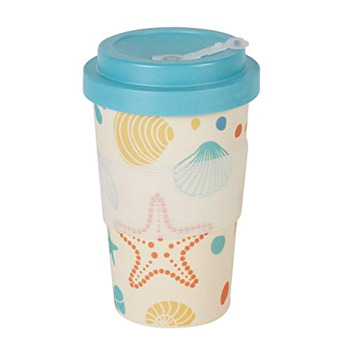 Bamboe Cup to Go beker | bamboe beker zee design | beker met deksel | ideale theebeker & koffie to go beker | wegwerpbeker alternatief