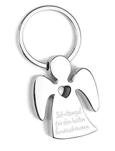 Schlüsselanhänger Schutzengel - für den besten Feuerwehrmann - Metall verchromt mit Herz und hochwertiger Lasergravur inkl. schöner Geschenkbox - Glücksbringer Talisman fürs Auto, Reise