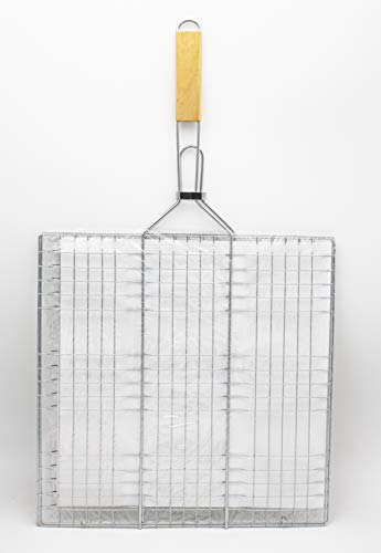 LEYENDAS Barbecue portatile pieghevole in acciaio inox cestino pesce griglia con manico in legno per pesce, verdure, carne, (69 x 40 x 40 cm, grigio)