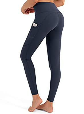 BOSTANTEN High Waist Yoga Pants Leggings for Women with Pockets Tummy Control Workout Capris No-See Through Tights Pants Navy Size L
