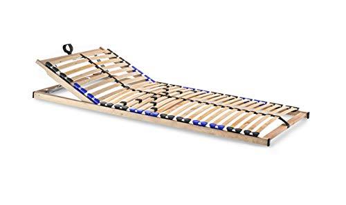snoozo Lattenrost Lattenrahmen TwinFlex | 28 Federleisten | 5-facher Härteverstellung | zur Selbstmontage | geeignet für alle Matratzen | Kopfteil verstellbar | 90 x 200 cm