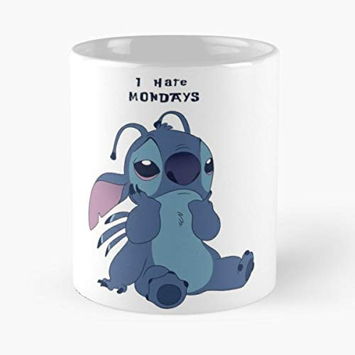 92Wear Wacky Races Dick Dastardly Muttley Stitch Lilo and I Hate Mondays Monday Cute Adorable - Best 11 oz Taza De Café - Taza De Motivos De Café