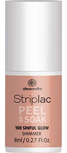 alessandro Striplac Peel or Soak Sinful Glow – LED-Nagellack in glänzendem Nude – Für perfekte Nägel in 15 Minuten – 1 x 8ml