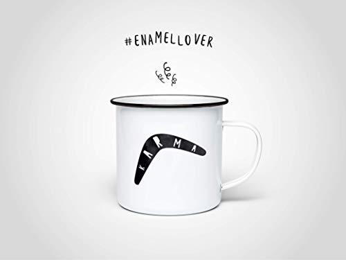 Karma Emaille-Becher — Edelstahltasse, Outdoor, Campen, Vintage, Becher, Kaffeetasse, Kaffee, Tee, Heißgetränk, Camp, Geschenk, Blechtasse
