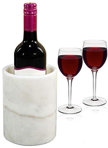"""Wine Chiller White Table Top Handmade Marble Wine Chillers for Champagne - Tall 5x5x6.5 Inch"""" Beverage Freeze Cooler Holder - Use as Utensils, Stationery & Centerpiece Bar Decor (WZ-03)"""