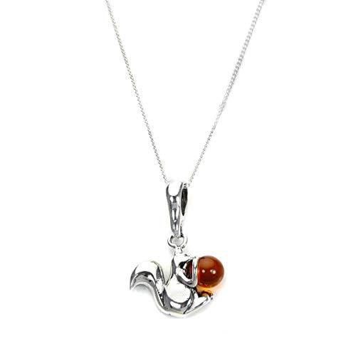 Sterling Silber und Baltischer Bernstein Eichhörnchen Anhänger mit Kette / Halskette | Kettenlänge: 20 Inches (50,8cm)