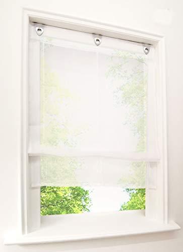 BAILEY JO 1er-Pack Raffrollo mit U-Haken Weiß Transparent Voile Ösenrollo Vorhang (BxH 80x130cm, Weiß)