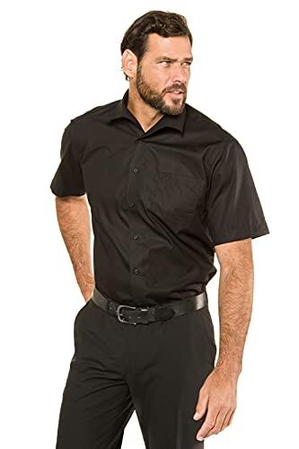 JP 1880 JP 1880 Herren große Größen bis 8XL, Kurzarm Businesshemd aus Reiner Baumwolle, mit Brusttasche, Variokragen & Comfort Fit schwarz 6XL 705178 10-6XL
