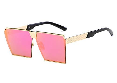 LONG Retro übergroße Mann Sonnenbrille Frauen Vintage Sonnenbrille für Frauen Männer Spiegelgläser Brille Damen Brillen UV400-Purpur Rosa