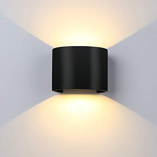 ETiME 7W LED Wandleuchte Wandlampe mit einstellbar Abstrahlwinkel Design Wasserdichte IP 65 LED Wandbeleuchte 3000K Warmweiß Schwarz (Rund Schwarz 7W)