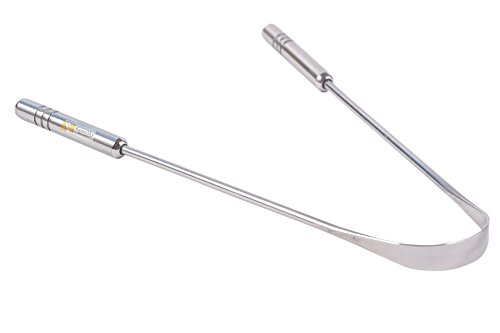 Raspador limpiador de lengua de acero inoxidable de grado quirúrgico – inhibición de bacterias, agarre no sintético – esterilizable