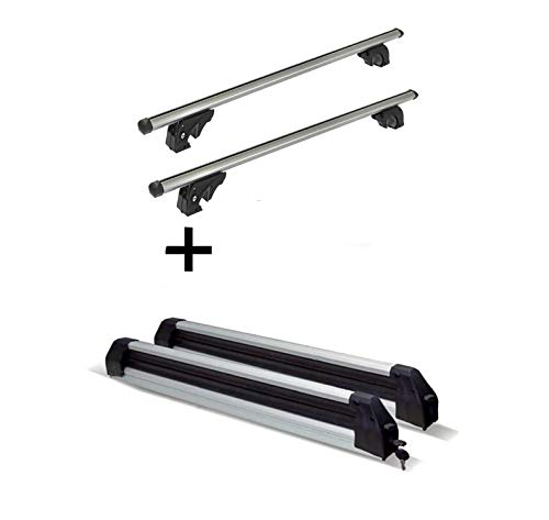 VDP Skiträger Silver Ice ausziehbar + Dachträger/Relingträger LION2 kompatibel mit Skoda Yeti (5 Türer) ab 13