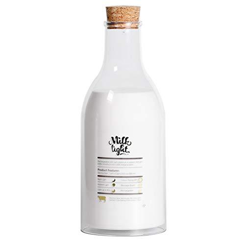 Creativa botella de leche lámpara USB DIY mensaje LED botella de leche modo de dormir luz de noche casa fiesta decoración (blanco cálido)