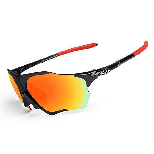 OPEL-R Gafas de Sol Hombre Sin Marco Polarizadas Oakley Jawbreaker, MTB Gafas de Ciclismo a Prueba de Viento TR90 para Deportes al Aire Libre,Blackred