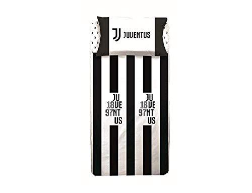Juventus parure Copripiumino in Cotone Prodotto Ufficiale Juve Sacco+Federa (Una Piazza e Mezza)