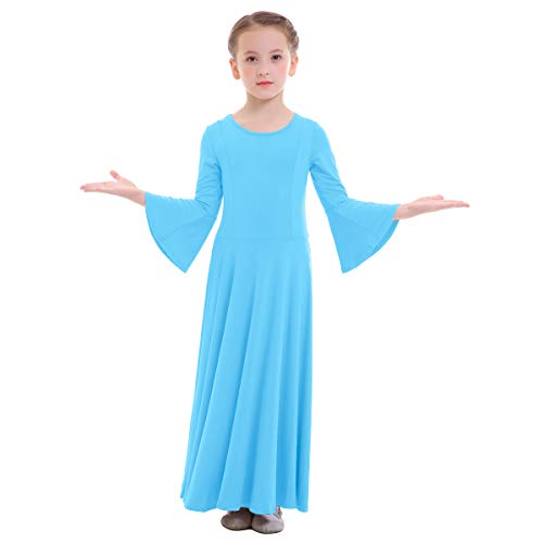 OBEEII Niñas Vestido Liturgico Danza Maillot Leotardo Gimnasia Disfraz de Baile Clásica Combinación para Danza Iglesia Ceremonia Casual 003 Azul 3-4 Años