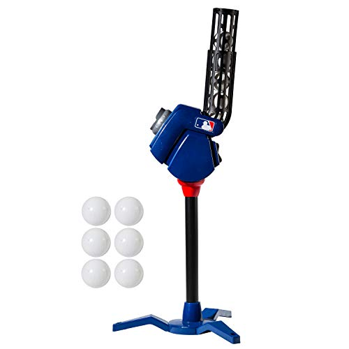 Franklin Sports Baseball Pitching Machine - Adjustable Baseball Hitting & Fielding Practice Machine For Kids - with 6 Baseballs - Great For Practice,Blue