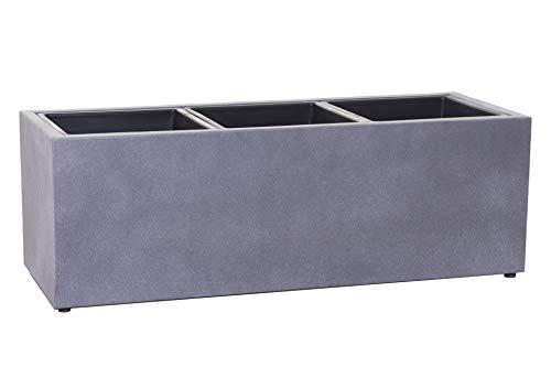 VIVANNO Pflanzkübel Blumenkasten Fiberzement Mikano, Grau in Beton-Optik (77x29x28 cm)