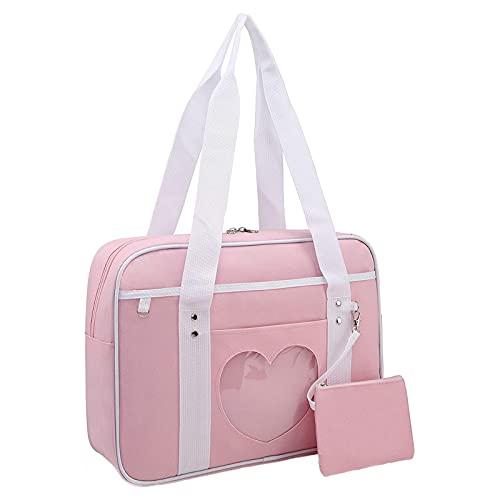 Ita Bag Heart Japanese School Bag,Ita Bag Heart Shape Window Japanese School Handbag,Heart Shape Kawaii Lolita Handbag Shoulder Anime Bag, for Cosplay,Comic Con (Pink)